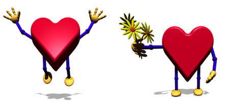 Heart cartoon figure holding bunch of flowers