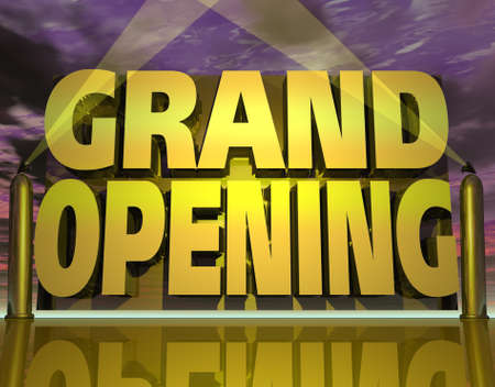 grand opening: three dimensional graphic depicting a Grand Opening