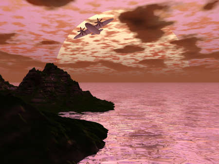 Prop piano di volo da isola in isola al tramonto  Archivio Fotografico - 1545727