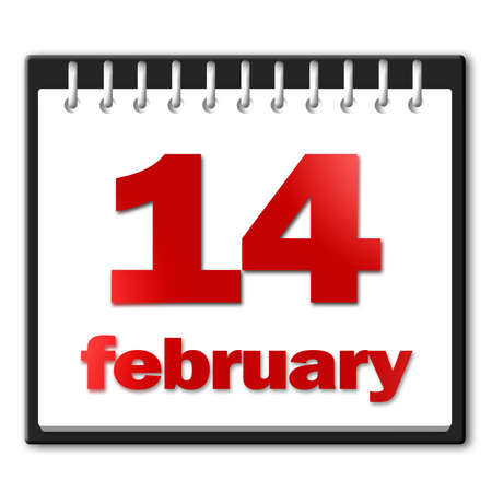 14 February in red on a notepad