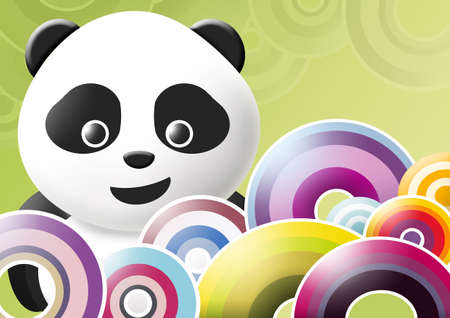panda over multicolored background