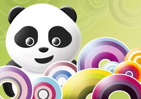 panda over multicolored background