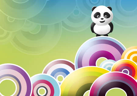 panda over circles abstract background