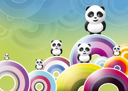 panda over multicolored background Stock Photo - 10416287