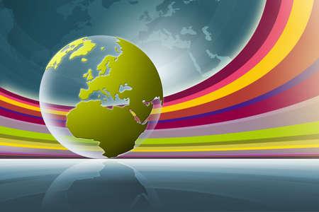 world globe & rainbow