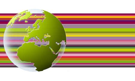 world globe in green over rainbow texture