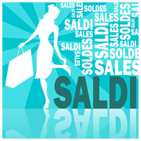 saldi, words and woman (blue)