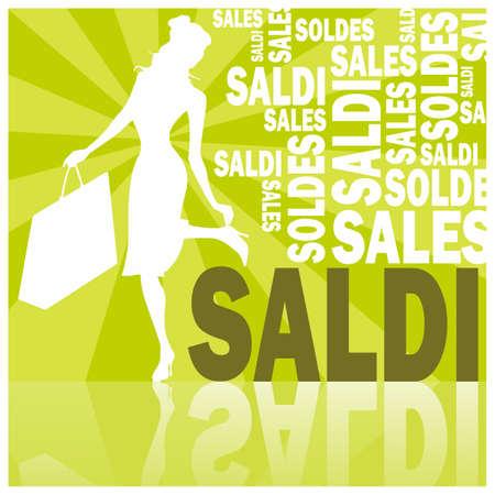 saldi, words and woman (green)