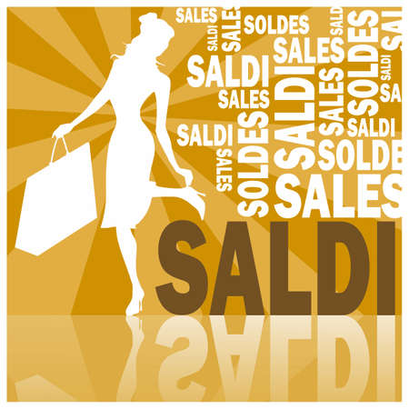 saldi, words and woman (orange)