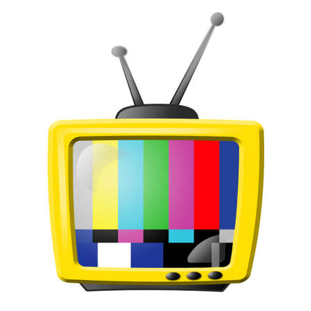 yellow tv with no transmission background