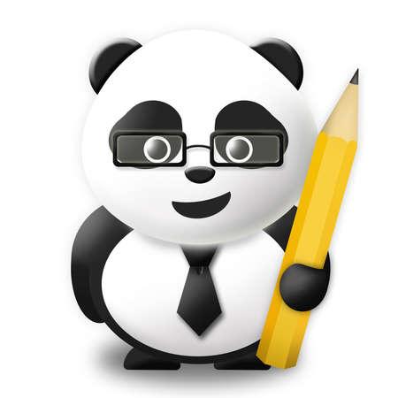 Business Panda with pencil  Stock Photo - 11801742