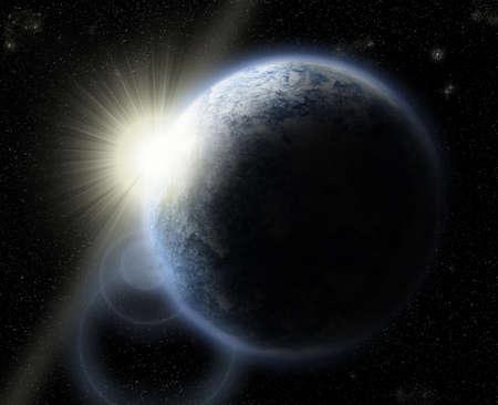 sol naciente: Tierra con Sol naciente Foto de archivo