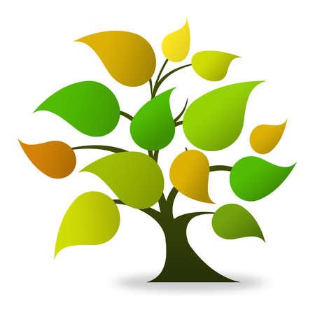 Tree logo (green, orange)  Stock Photo