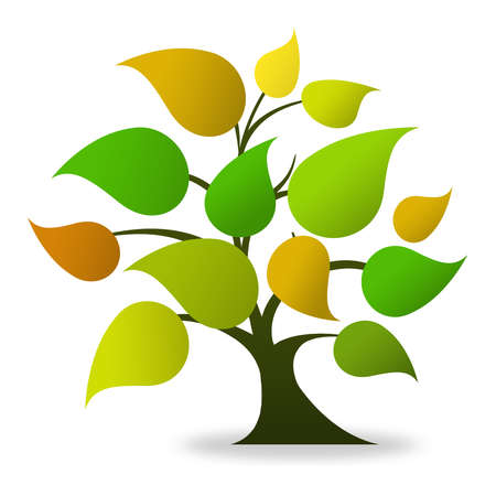 knowledge tree: Tree logo (green, orange)  Stock Photo