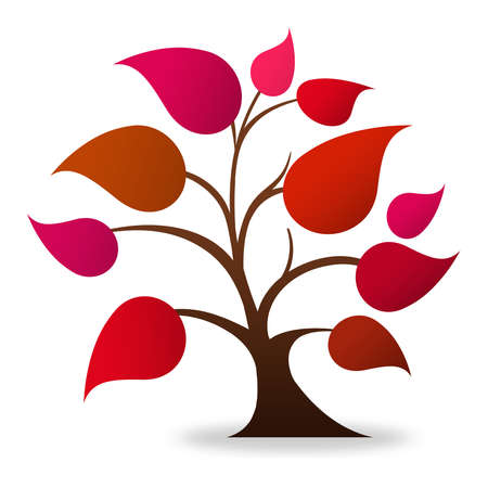 tree of knowledge: Tree logo (red, magenta)  Stock Photo