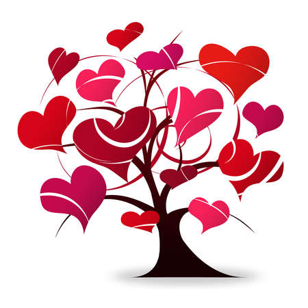 valentine tree: Tree love  Stock Photo