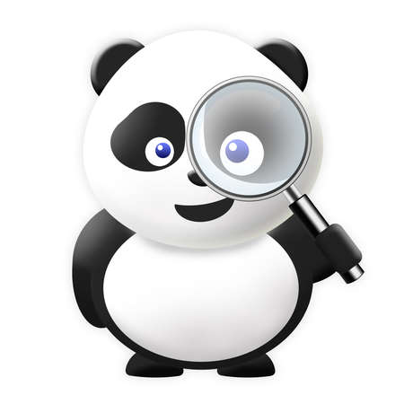 Panda with magnification glass Stock Photo