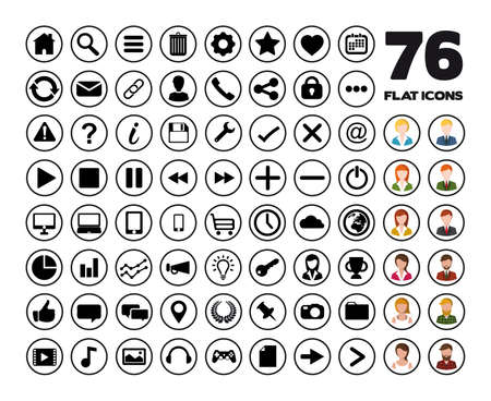 contact information: Flat icons set.
