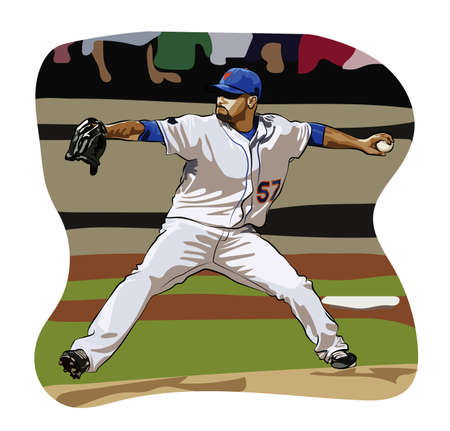 Colored baseball pitcher Illustration