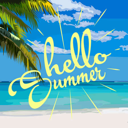 Hello Summer Summer and sea illustration