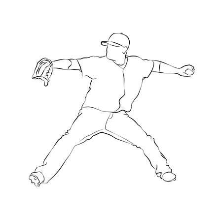 Sketch baseball pitcher