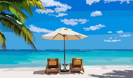 Beautiful summer and sea illustration