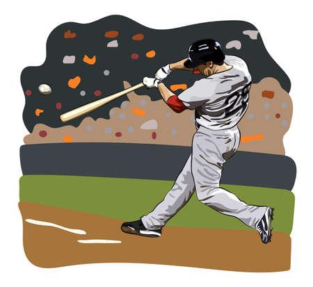 Baseball hitter on a colored presentation