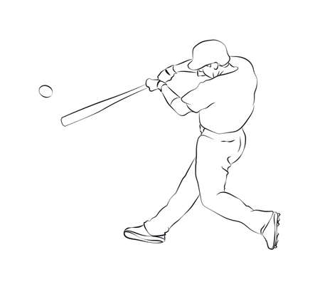 Baseball hitter on a sketch presenattion