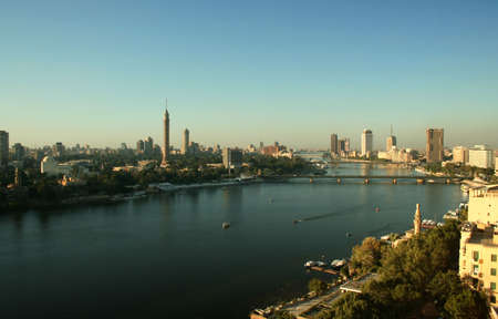The River Nile running past Zamalek Island with Cairo Tower.
