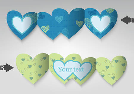felicitation: Template greeting card in the form of heart  Illustration