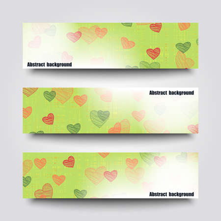 felicitation: Set of banner templates with  love background