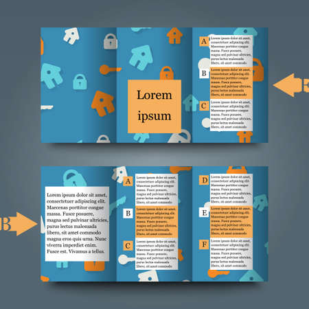 lock up: Brochure template with abstract background. Illustration