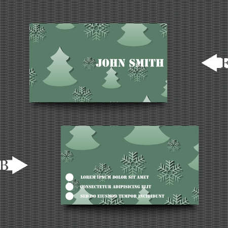 흰 서리: Business card template winter background