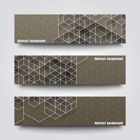 cuadrados: Conjunto de plantillas de banner con el fondo abstracto. Vectores