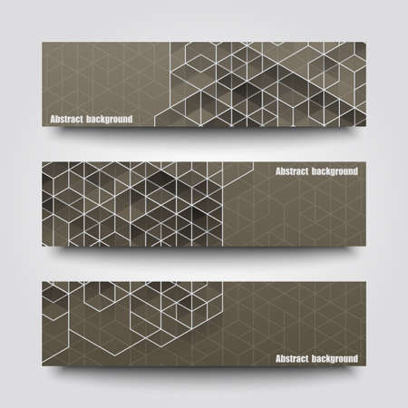 grey backgrounds: Set of banner templates with abstract background. Illustration