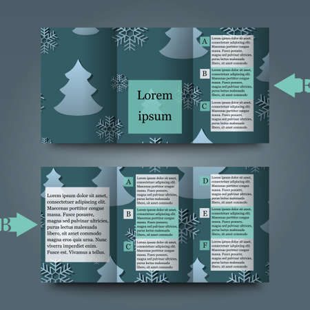 hoarfrost: Brochure template with winter background.