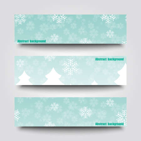 rime frost: Set of banner templates with winter background.