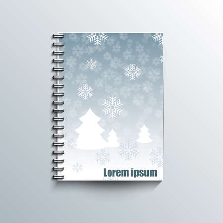 hoarfrost: Notepad template with winter background Illustration