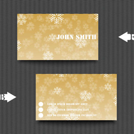 hoarfrost: Business card template with winter background. Illustration