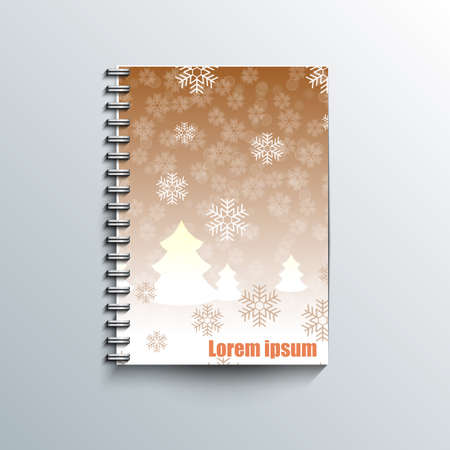 rime: Notepad template with winter background Illustration