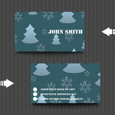 rime frost: Business card template with winter background. Illustration
