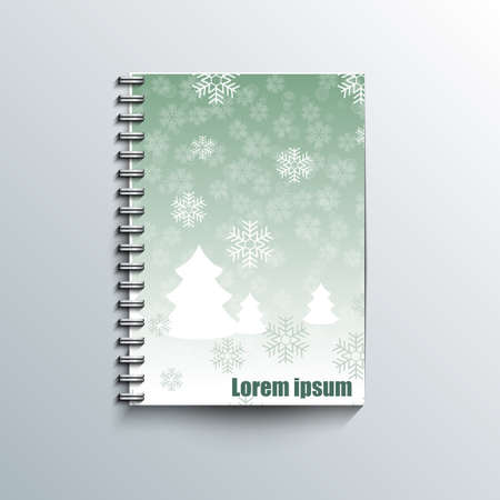 rime: Notepad template with winter background.