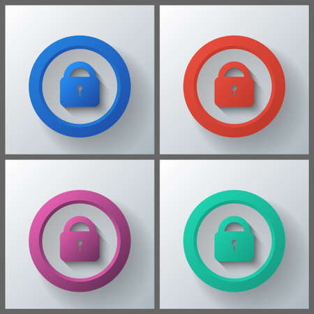 Set of banner templates with locks icon. Vector