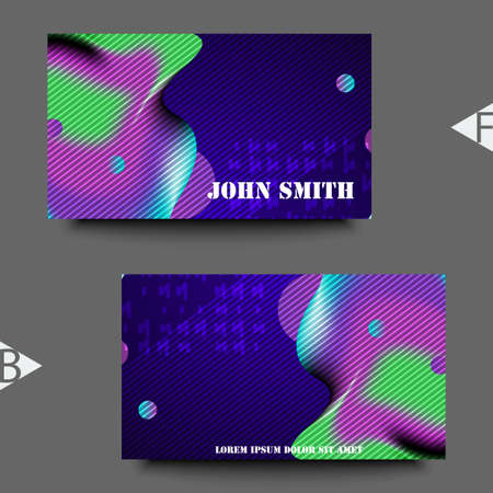 Graphic illustration with abstract gradient liquid bubble shape. Business card template. Eps10 Vector illustration