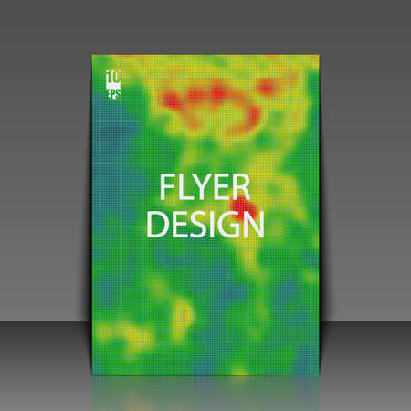 Colored heat map for temperature. Flyer template. Eps10 Vector illustration