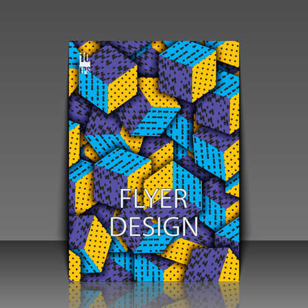 Multicolored cubes with ornament. Flyer template. Eps10 Vector illustration