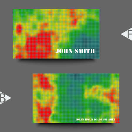 Colored heat map for temperature. Business card template. Eps10 Vector illustration