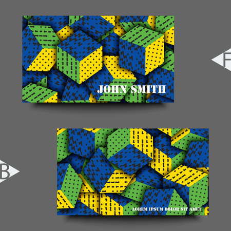 Multicolored cubes with ornament. Business card template. Eps10 Vector illustration