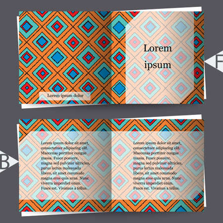 Abstract modern background with hand-drown rhombuses. Brochure template. Eps10 Vector illustration