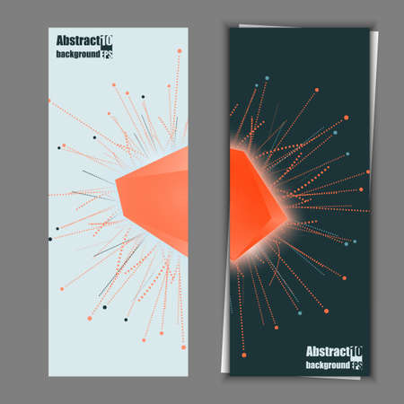 Abstract faceted element cracked into multiple fragments. Explosion effect. Banner template. Eps10 Vector illustration.